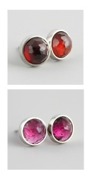 14kw stud earrings with garnet and pink tourmaline