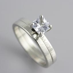 White Gold Ring Set with Asscher Cut Sapphire